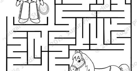printable horse maze personalized printable cowboy horse birthday party favor