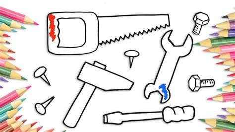how to draw tools how to draw tools hammer saw spanner screwdriver drawing