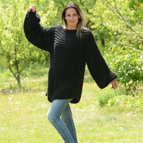 hand knitted boat neck sweater black hand knit wool boatneck summer sweater by extravagantza
