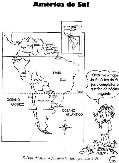mapa a america do sul cantinho de hist 243 ria e geografia am 233 rica do sul