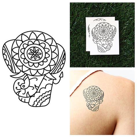 detailed elephant tattoo detailed elephant temporary tattoo set of 2