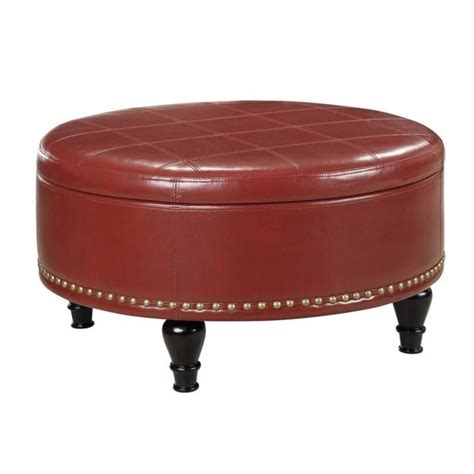 ottoman red augusta storage leather ottoman in crimson red bp auot32 b19