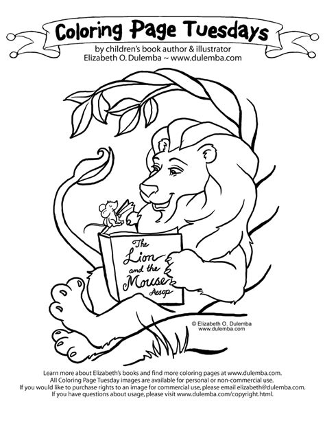 coloring pages the lion and the mouse dulemba coloring page tuesday the lion and the mouse