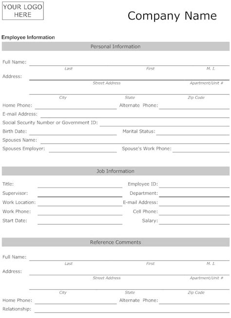 personal information form template best photos of employee information template employee