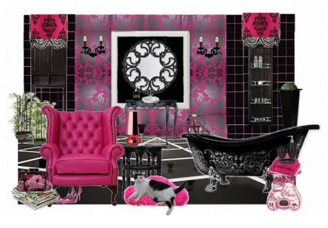 pink black and white bathroom ideas