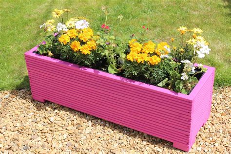 Pink Garden Planters by 1 Metre Large Wooden Garden Trough Planter In Decking