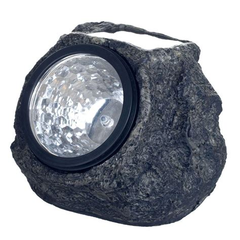 Rock Lights For Garden Garden Solar Powered Led Grey Rock Landscaping Light 4 Pack 50 21 The Home Depot