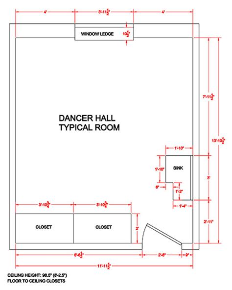 Typical House Floor Plan Dimensions Dancer Hall Department Of Residence