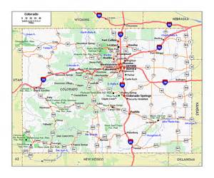 large roads and highways map of colorado state colorado