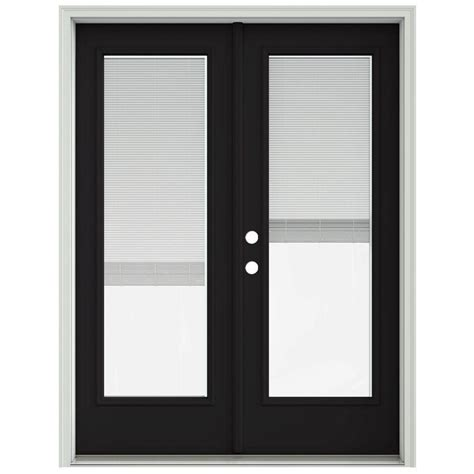 jeld wen 60 in x 80 in black prehung right inswing patio door with brickmould and
