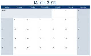 Sle Calendar Templates by Printable Calendar Template 2012