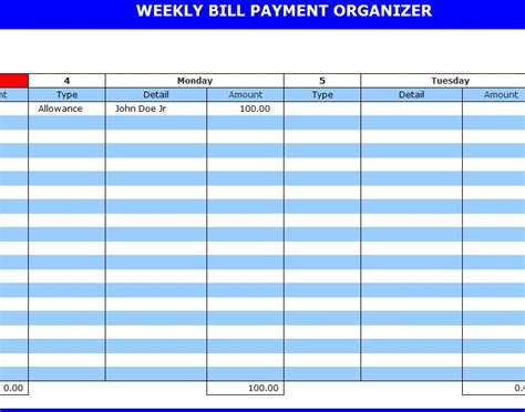 9 Best Images Of Free Printable Weekly Bill Planner Bill Payment Organizer Template Printable Free Bill Planner Template