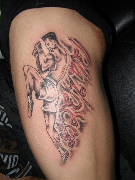 muay thai tattoos design muay thai fighter and writing in thai ideas