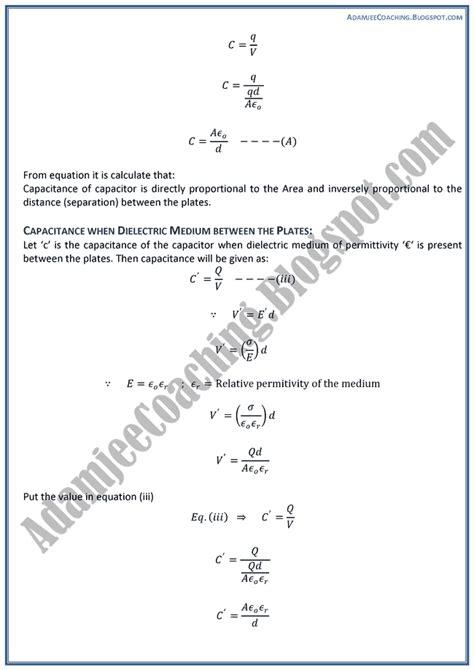 Adamjee Coaching Electrostatics Theory Notes Physics Xii