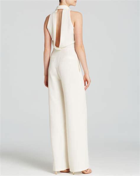 Tilla Jumpsuit In White abs by allen schwartz jumpsuit sleeveless tuxedo in
