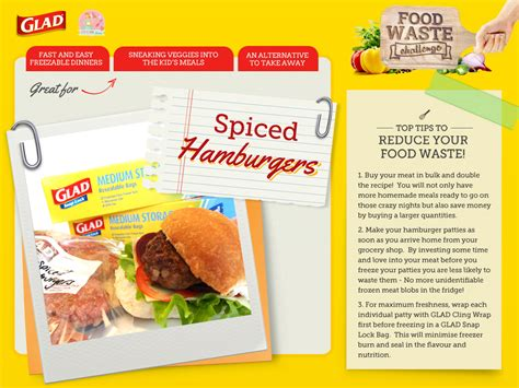 waste food challenge recipe card spicy burgers stay at