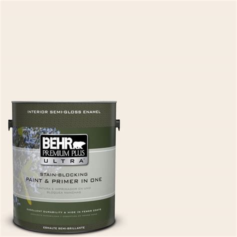 behr premium plus ultra 1 gal ppu5 9 bleached linen semi gloss enamel interior paint 375001