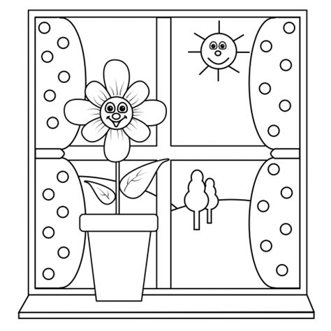 coloring page for window coloring page sunny window kidspressmagazine com