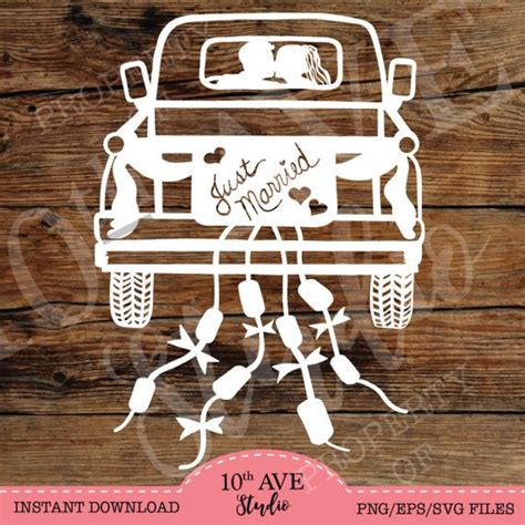 bride groom  married truck svgepsdxfpng clipart