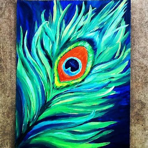 12x16 original abstract peacock feather painting by kaybubblesart 30 00 etsy artwork