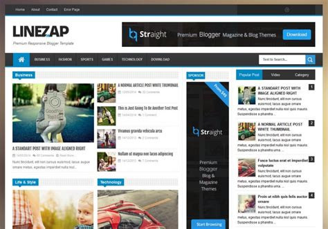 entertainment templates for blogger linezap responsive blogger template 2014 free blogger