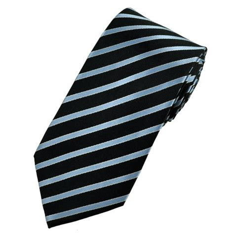 Black With Light Blue Silver Striped Silk Tie From Ties Ties With Lights