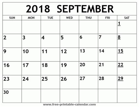 printable calendar sept 2018 printable calendar september 2018 free journalingsage com