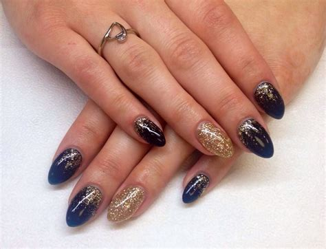 Make Up Ideen 5010 by Navy And Gold Almond Gel Nails This Shape Is More