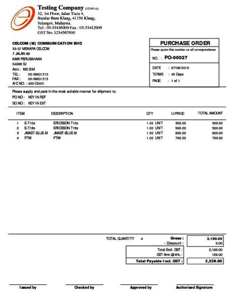 purchase order invoice template hardhost info