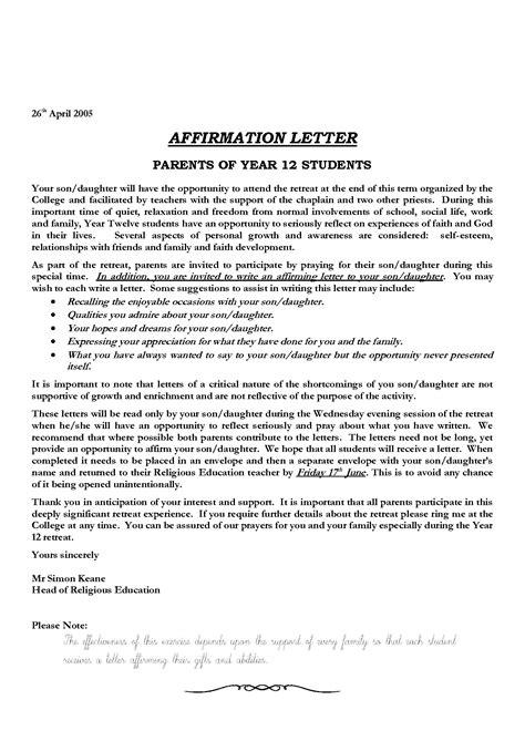 Sample Affirmation Letters Catholic Confirmation