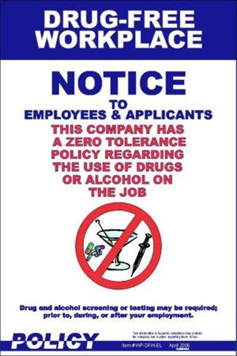 workplace policy posters drug free workplace policy