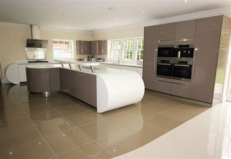contemporary curved kitchen island design  spacious