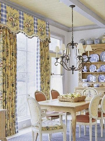 blue and yellow country dining room for the home