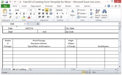 bill of lading template excel 5 free bill of lading templates excel pdf formats