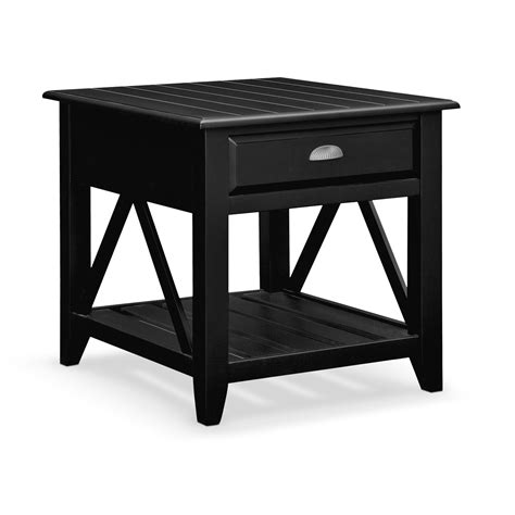 Plantation Cove Coastal End Table Black Value City Black Living Room Tables