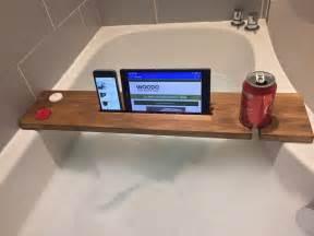 reclaimed solid wood bath bar tray caddy rack shelf tablet