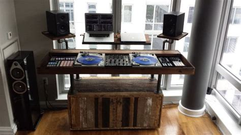 wooden dj table setup on a wooden antique table dj setup at fundjstuff