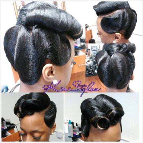 simple hairstyles for relaxed hair retro glam victory rolls n waves black hair information