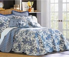 new jcpenney toile garden king bedspread blue white cotton