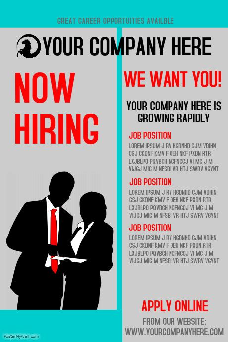 Hiring Template by Posting Flyer Template Create Hiring Posters For