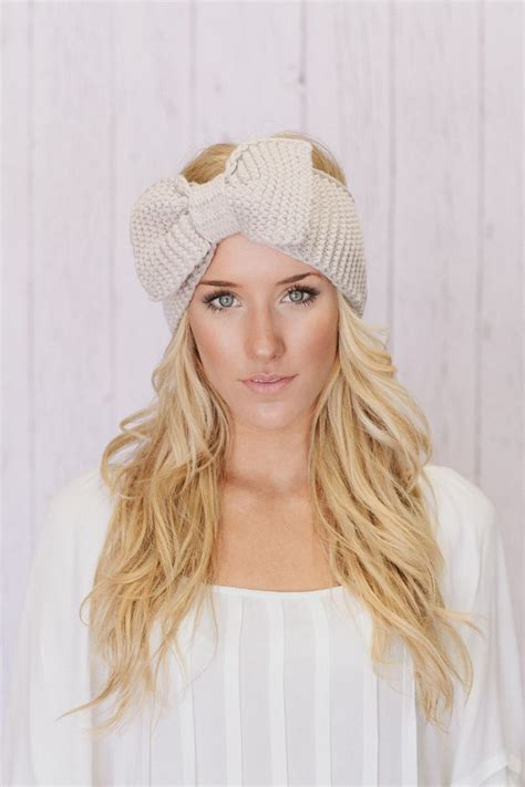 knit bow headband knitted bow headband large bow ear warmer vanilla latte