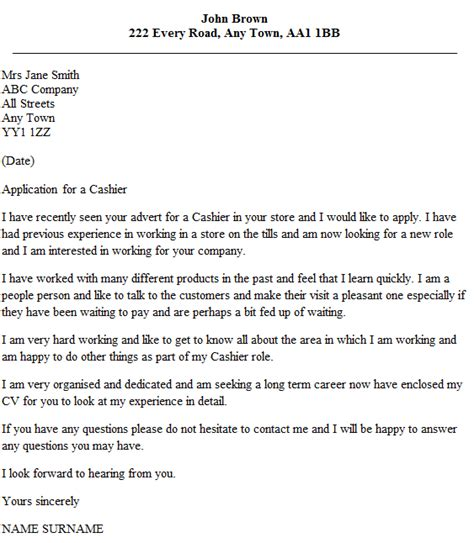 Cashier Cover Letter Example   icover.org.uk