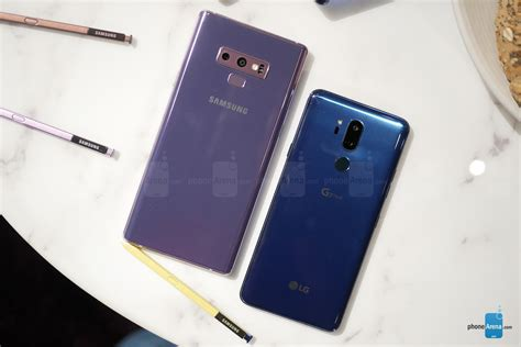 samsung galaxy note 9 vs lg g7 thinq look comparison phonearena reviews phonearena