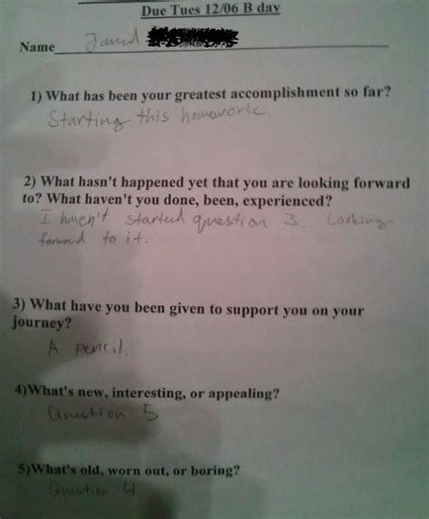 Inappropriate Or Question Inappropriate Test And Homework Answers Funniest