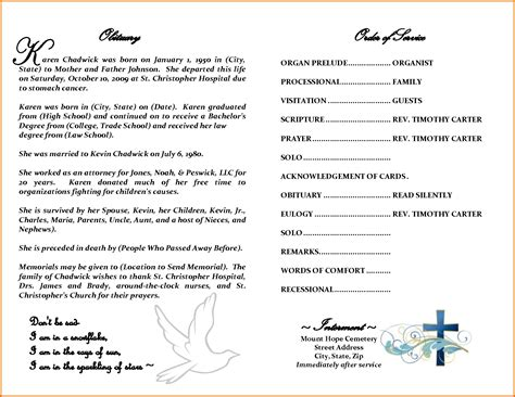 obituary template for 6 sle obituary templatesreference letters words