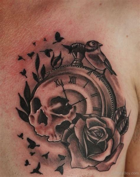 skull and clock tattoo clock tattoos designs pictures page 3