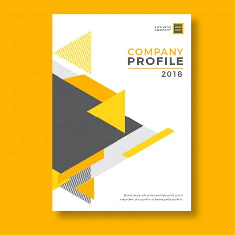 Yellow Geometry Abstract Company Profile Template Vector Premium Download Company Profile Template Free