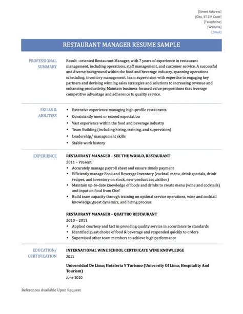 fashionable idea restaurant manager resume sample 15 restaurant