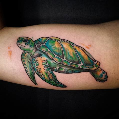 Green Sea Turtle Tattoo On Inner Bicep Green Sea Turtle Tattoos
