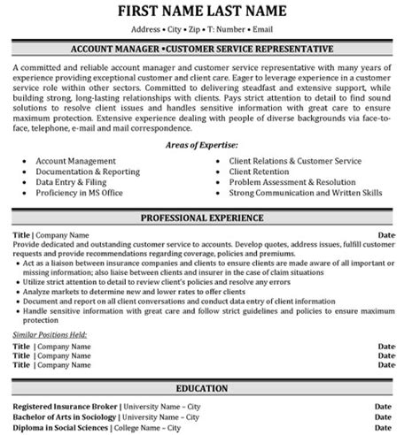 Client Account Manager Sle Resume by Top Insurance Resume Templates Sles